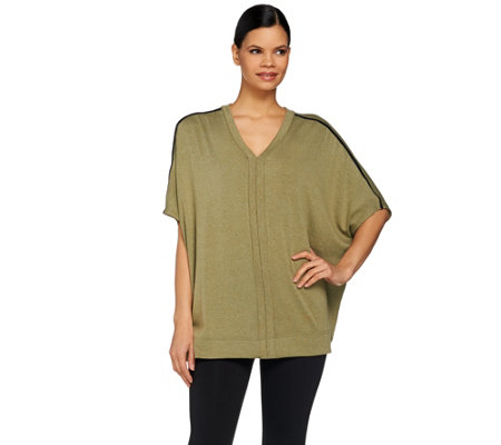 Lisa Rinna Collection V-Neck Poncho with Faux Leather Trim
