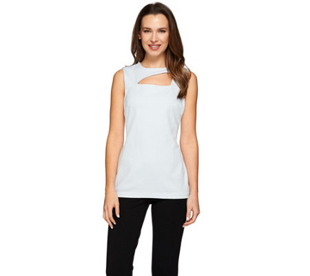 G.I.L.I. Milano Ponte Asymmetric Cut Out Neck Sleeveless Top