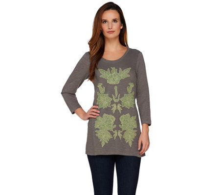 LOGO by Lori Goldstein Slub Knit Top with Mesh Applique