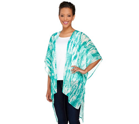 """As Is"" Susan Graver Printed Crinkle Sheer Chiffon Kimono"