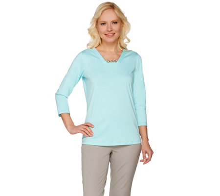 Susan Graver Butterknit 3/4 Sleeve Top with Enamel Trim