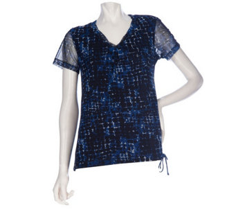 """As Is"" Kelly by Clinton Kelly Short Sleeve Lined Mesh Top - A276719"