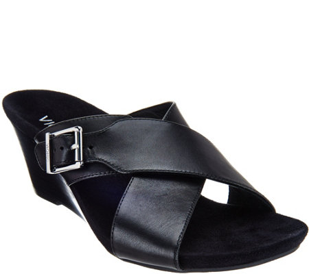 Vionic Orthotic Leather Wedge Sandals - Libbie