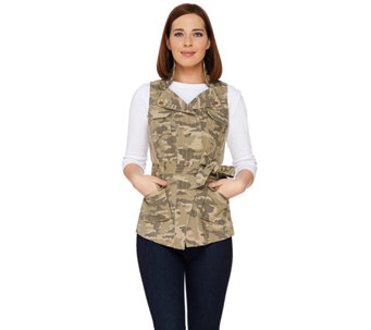 G.I.L.I. Camo Printed Zip Collar Belted Vest - A277119