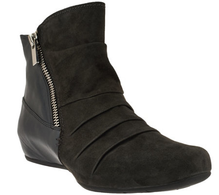 Earthies Leather & Suede Hidden Wedge Ankle Boots - Pino