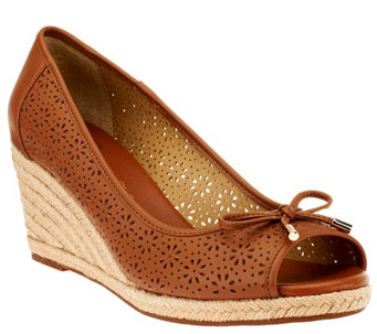 """As Is"" Liz Claiborne New York Open Toe Perforated Wedges - A278619"