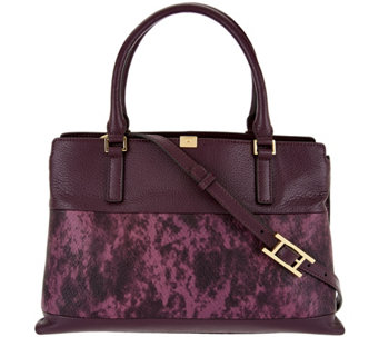 c171f66019 H by Halston Two-Tone Lizard Embossed and Pebble Leather Tote - A279819