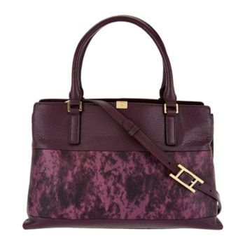H by Halston Two-Tone Lizard Embossed and Pebble Leather Tote