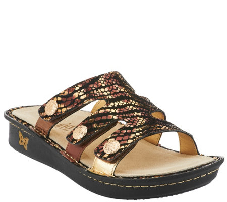 """As Is"" Alegria Leather Slip-On Sandals with Strap Details - Venice"