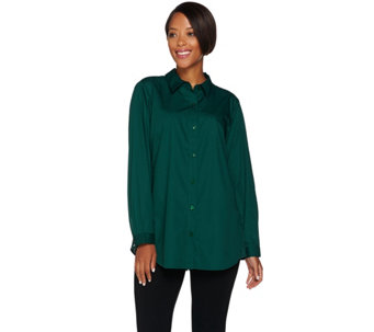 Joan Rivers Boyfriend Shirt with Lace Detail - A281319
