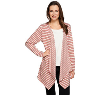 """As Is"" Denim & Co. Active French Terry Striped Drape Front Cardigan - A282519"