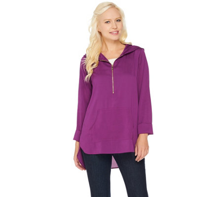 Belle by Kim Gravel Woven Half Zip Tunic with Hood