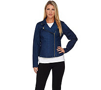 Isaac Mizrahi Live! TRUE DENIM Motorcycle Jean Jacket - A284219