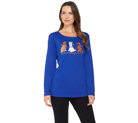 Quacker Factory Holiday Pets Long Sleeve T-shirt