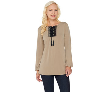 Susan Graver Liquid Knit Long Sleeve Tunic with Crochet Trim - A285419