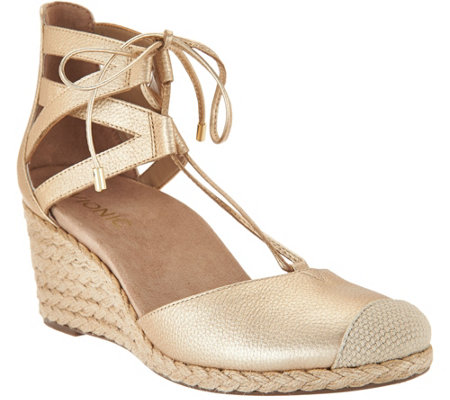 Vionic Lace-up Wedge Espadrilles - Calypso
