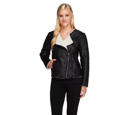 """As Is"" Nicole Richie Collection Faux Leather Motor- cycle Jacket"