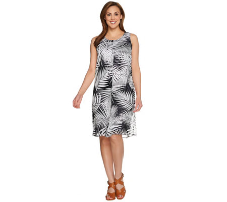 """As Is"" Susan Graver Printed Liquid Knit Dress Sheer Chiffon Overlay"