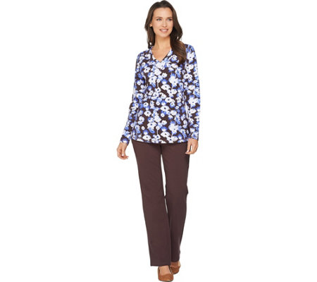 Denim & Co. Active Floral Print Long Sleeve V Neck Top & Pant Set