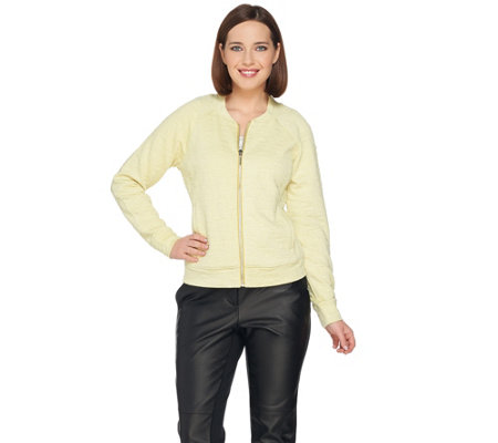 H by Halston Lightweight Textured Knit Bomber Jacket