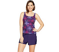 Denim & Co. Beach Firework Floral Tankini Swimsuit with Shorts - A289119