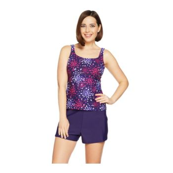 Denim & Co. Beach Firework Floral Tankini Swimsuit with Shorts