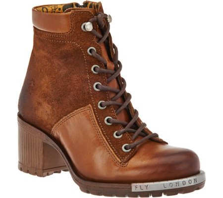 """As Is"" FLY London Leather Lace-Up Boots - Leal"