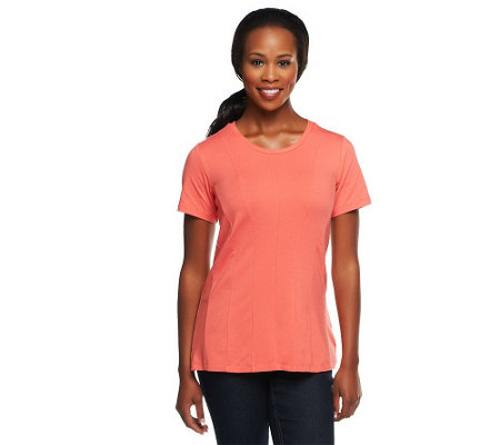 """As Is"" George Simonton Short Sleeve Seamed Top"