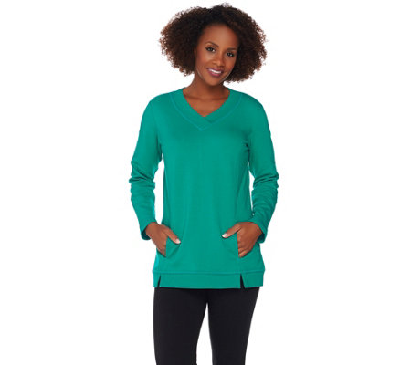 """As Is"" Denim & Co. Active Crossover V-Neck Long Sleeve Tunic"