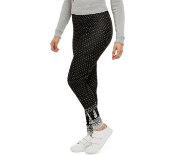 """As Is"" Bethany Mota Pull-On Mini Dot Jacquard Knit Leggings - A293019"