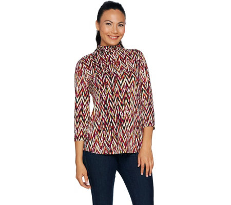 Susan Graver Printed Textured Liquid Knit Turtleneck Top