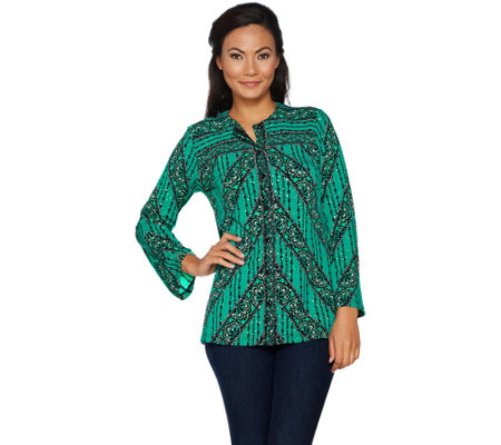 Bob Mackie's Printed Lace Stripe Jersey Button Front Blouse