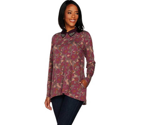 LOGO Lounge by Lori Goldstein Printed French Terry Top with Beaded Collar