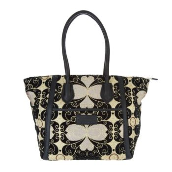 Mushmina Woven Patter & Leather Tote Bag