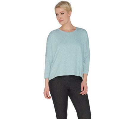 LOGO Lounge by Lori Goldstein French Terry Top with Drop Shoulder