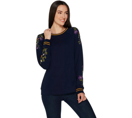 Susan Graver Weekend Embroidered French Terry Long-sleeve Top