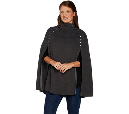 """As Is"" G.I.L.I. Sweater Cape w/Button Details"