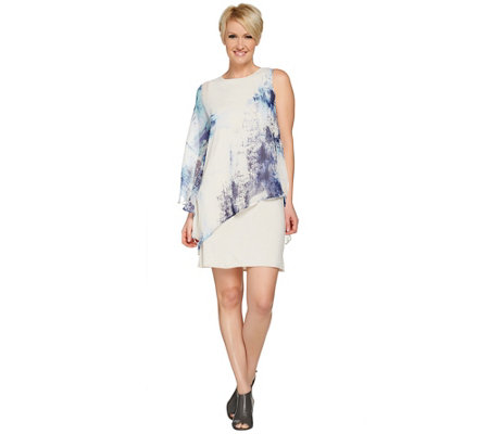 """As Is"" H by Halston One- Shoulder Dress with Printed Woven Overlay"