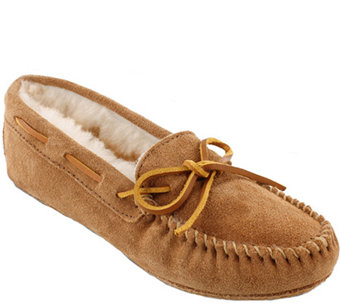 Minnetonka Leather Moccasin Slippers - Sheepskin Softsole Moc - A338519