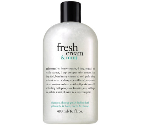 philosophy fresh cream and mint shower gel, 16oz