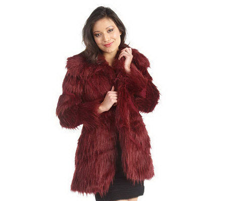 Luxe Rachel Zoe Faux Fur Convertible Collar Coat