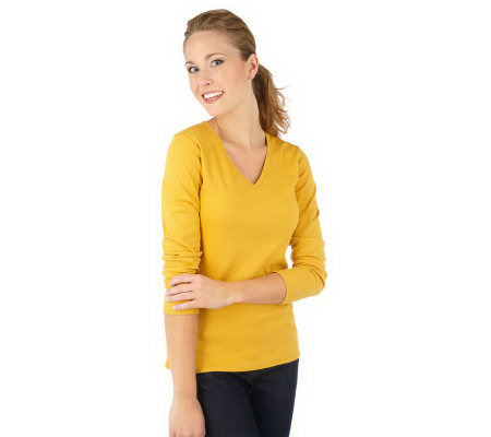 liz claiborne new york essentials long sleeve v neck t