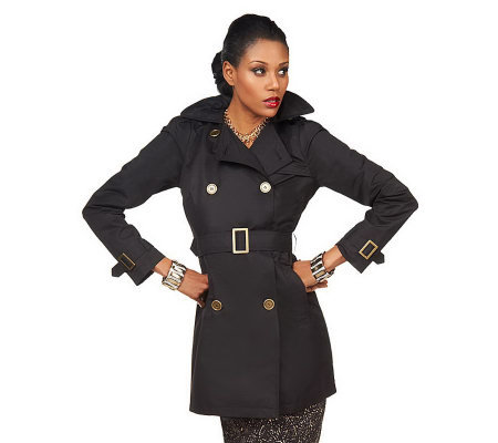 Luxe Rachel Zoe Water Resistant Trench Coat w/ Hood and Pintuck Sleeve