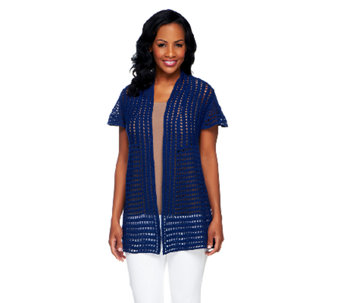Attitudes by Renee Hand Crochet Cap Sleeve Cardigan - A231920