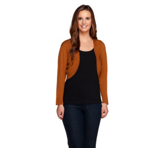 Linea by Louis Dell'Olio Whisper Knit Rib Trim Bolero - A232520