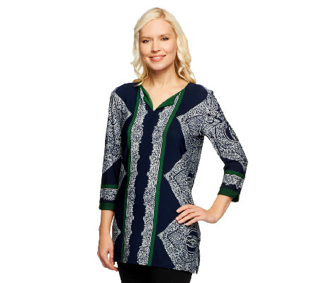 Susan Graver Liquid Knit Printed V-Neck Top w/ 3/4 Sleeves