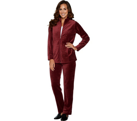 Quacker Factory Short Velour Jacket & Pants Set w/Rhinestones