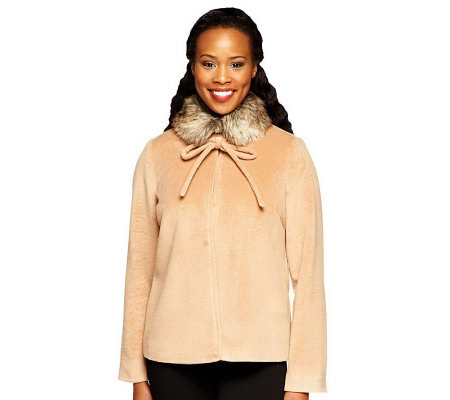 Mark of Style by Mark Zunino Jacket w/ Faux Fur Collar