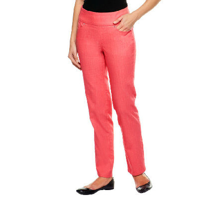 Denim & Co. Petite Perfect Denim Smooth Waist Straight Leg Jeans