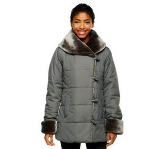Dennis Basso Shawl Collar Puffer Coat w/ Faux Fur Collar and Cuffs - A239820